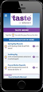 Mobile UI design for Taste of Sydney festival