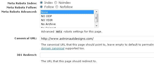 WordPress SEO advanced edit options