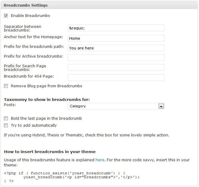 WordPress SEO integrated breadcrumbs