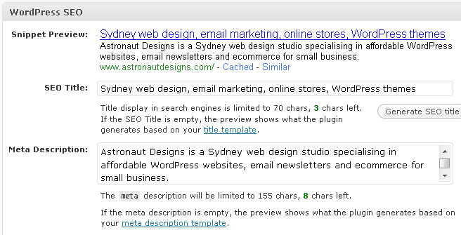 WordPress SEO edit panel