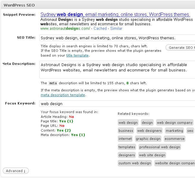 WordPress SEO focus keyword feature