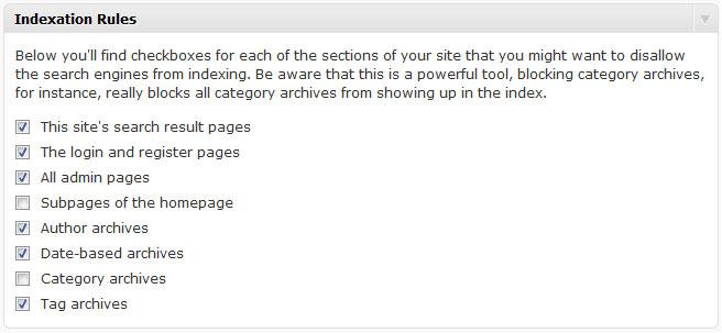 WordPress SEO indexation rules