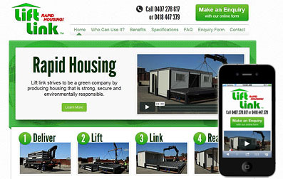 Responsive website example showing full size and mobile versions