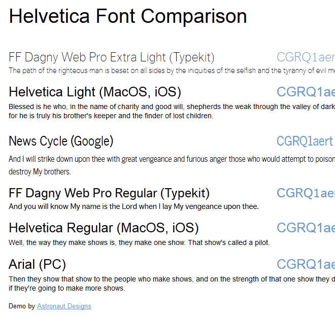 Helvetica font comparison - Arial displayed as fallback