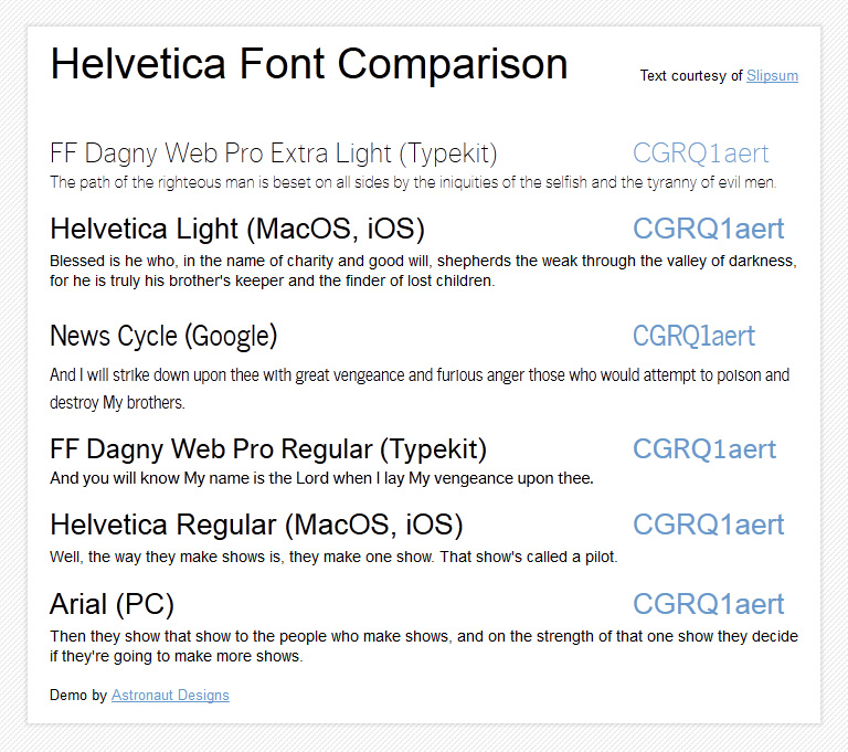 Helvetica vs Arial vs two cross-browser webfonts: a comparison