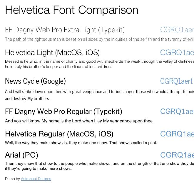 Helvetica Font Comparison