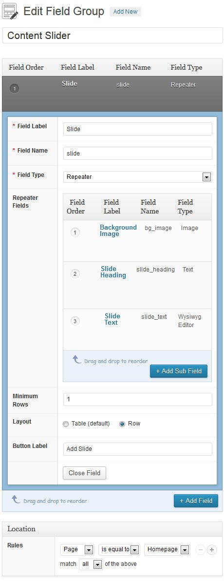 advanced custom fields content slider settings
